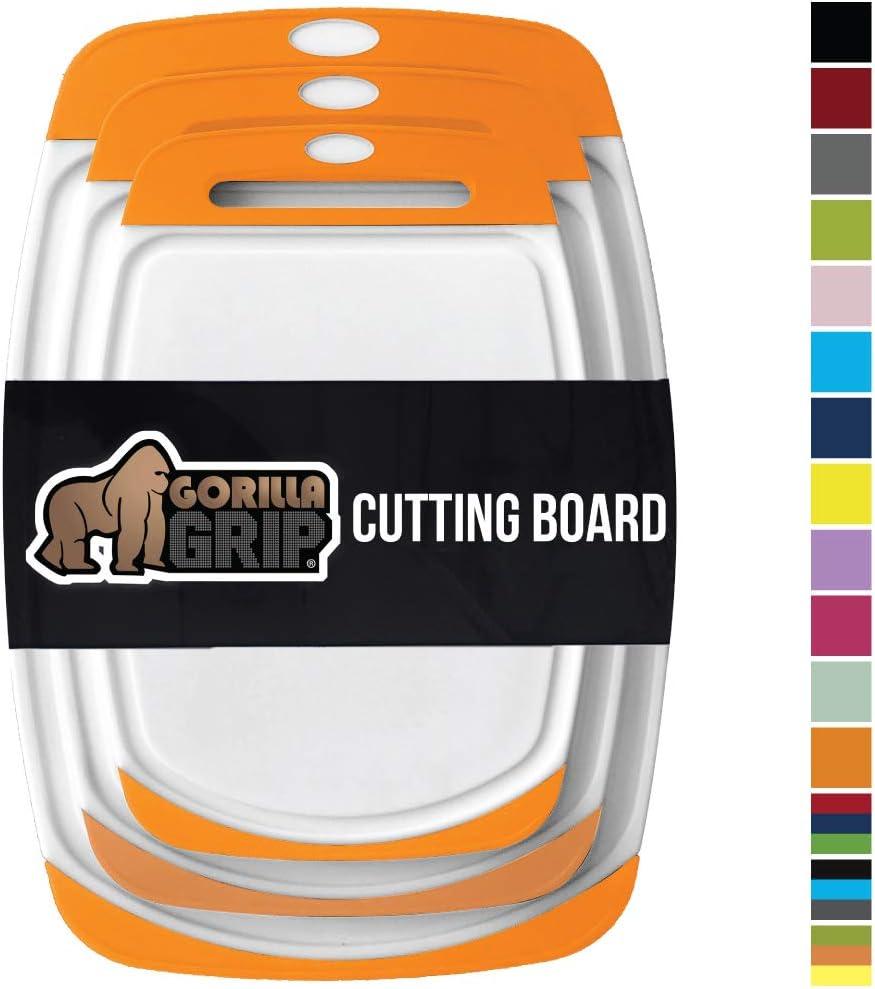 GORILLA GRIP Original Oversized Cutting Board, 3 Piece, BPA Free, Juice Grooves, Larger Thicker Boards, Easy Grip Handle, Dishwasher Safe, Non Porous, X Large, Kitchen, Set of 3, Orange White