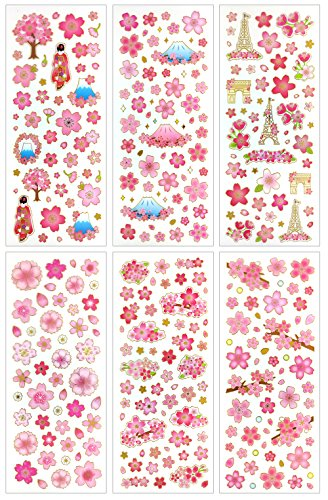 (CL007-SAKURA - Clear Gold Metallic Foil Sticker - 6 Different Sheets Decorative Craft Scrapbooking Stickers Set with Beautiful Sakura Fuji Mountain)