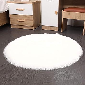 Shenyo Teppich Rund Flauschig Weich Fur Kinderzimmer Madchen Kinderzimmer Durchmesser Weiss 50x50cm