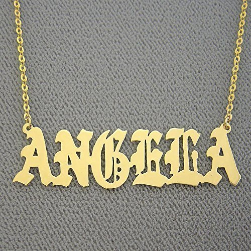 Amazoncom Old English Name Necklace Personalized Solid 14k Gold