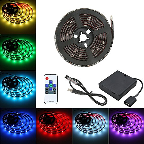 YUHAN Led Strip Lights Battery Powered, RGB Led Color Changing Flexible Strip Rope Lights Waterproof Led Lights With Updated RF Wireless Remote Control Flexible Led Strip Lighting-2M/6.56ft