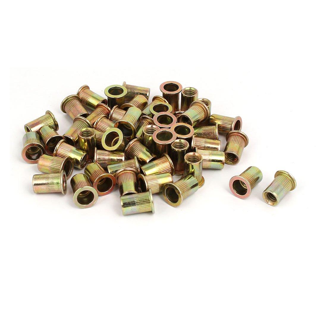 uxcell 5/16 Inch Female Thread Straight Knurled Rivet Nuts Insert Nutserts Bronze Tone 50pcs