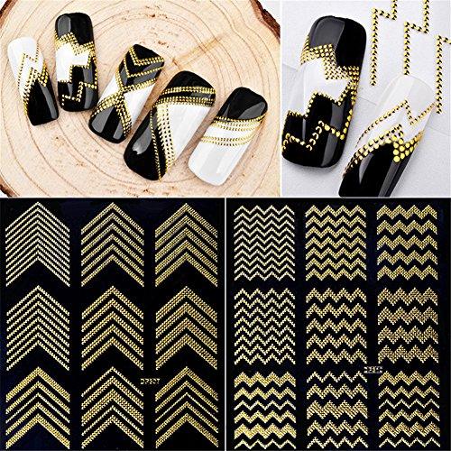 3 sheet Holo Nail Art Stickers Ultra Thin Laser Sticker Silver Stripe Line Nail Strip Tape DIY Foil Decals Nail Art - Line Art Decal