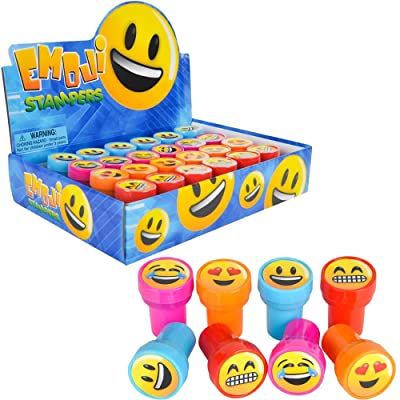 Emoji Stampers Happy Smiles, Love, Laughter Theme Self-Ink Stamps for Kids, Emoji Crafts Party Favors, Assorted (24-Pack): Arts, Crafts & Sewing