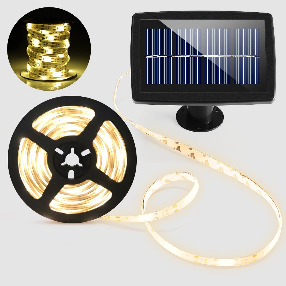 BESWILL Solar String Lights, Flexible&Cuttable 16.4 Feet LED Super Bright Solar Strip Lights with 2 Lighting Modes, Suitable for Indoor and Outdoor Lighting Decorations(Waterproof)