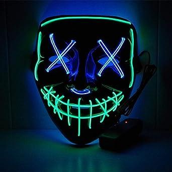 BFMBCHDJ Halloween Neon Led Mask Party Costume Purge Mask Election ...