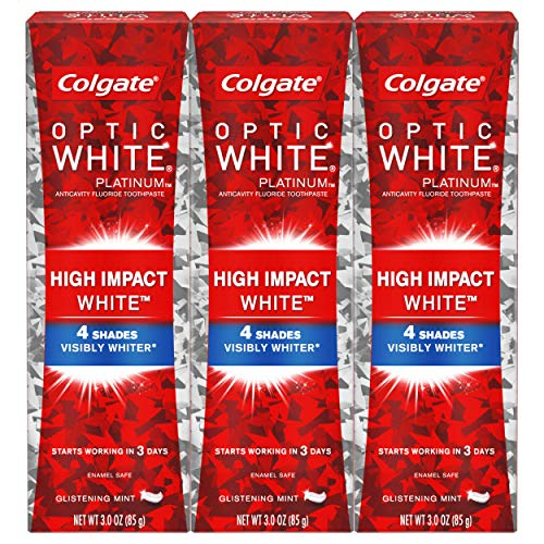 Colgate Optic White High Impact White Whitening Toothpaste, 3 oz, 3 Pack