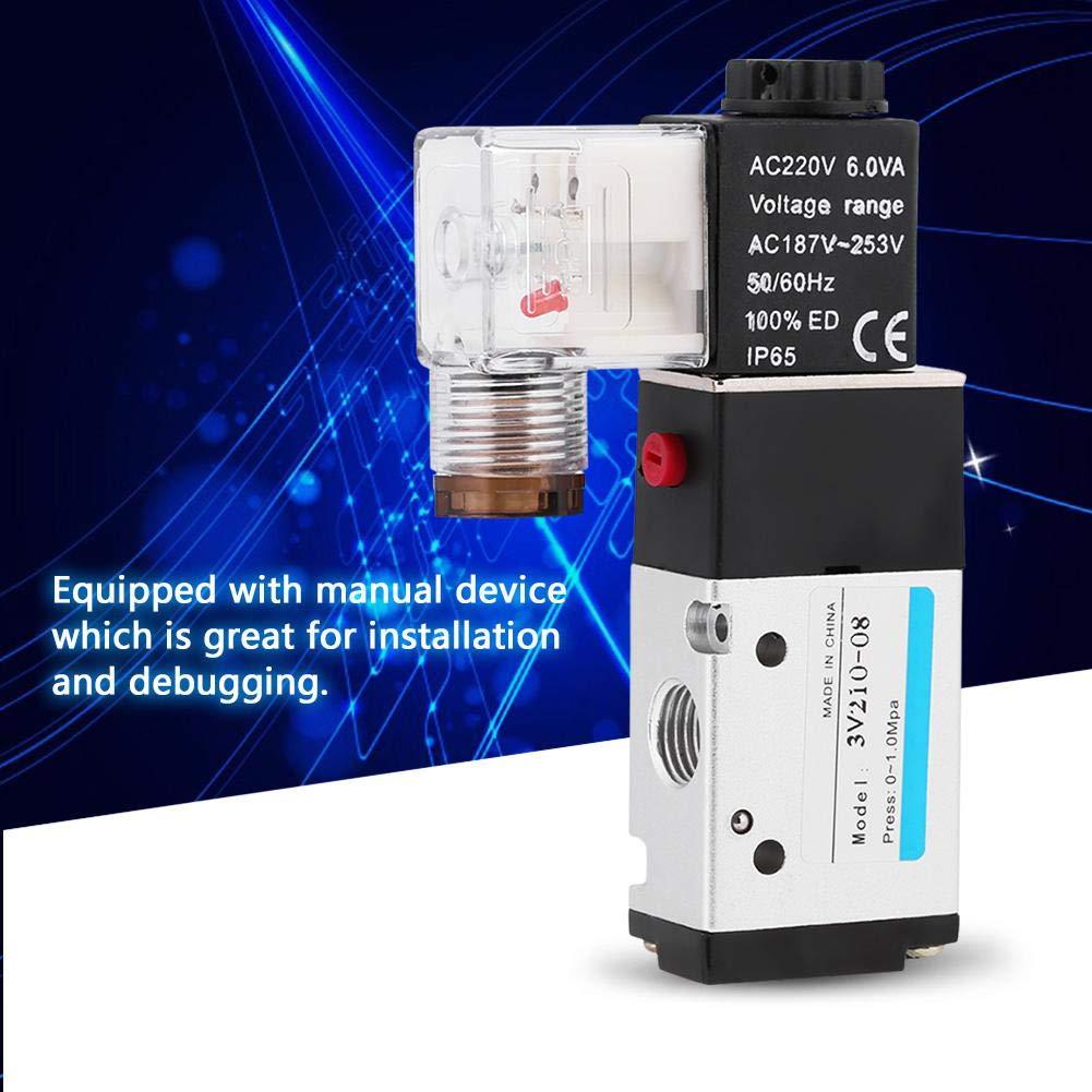 G1//4 Pneumatic Solenoid Valve AC220V -0.8 MPa Pressure Range 1pc Solenoid Valve 3-Way 2-Position Type G1//4 0.15 BSPP