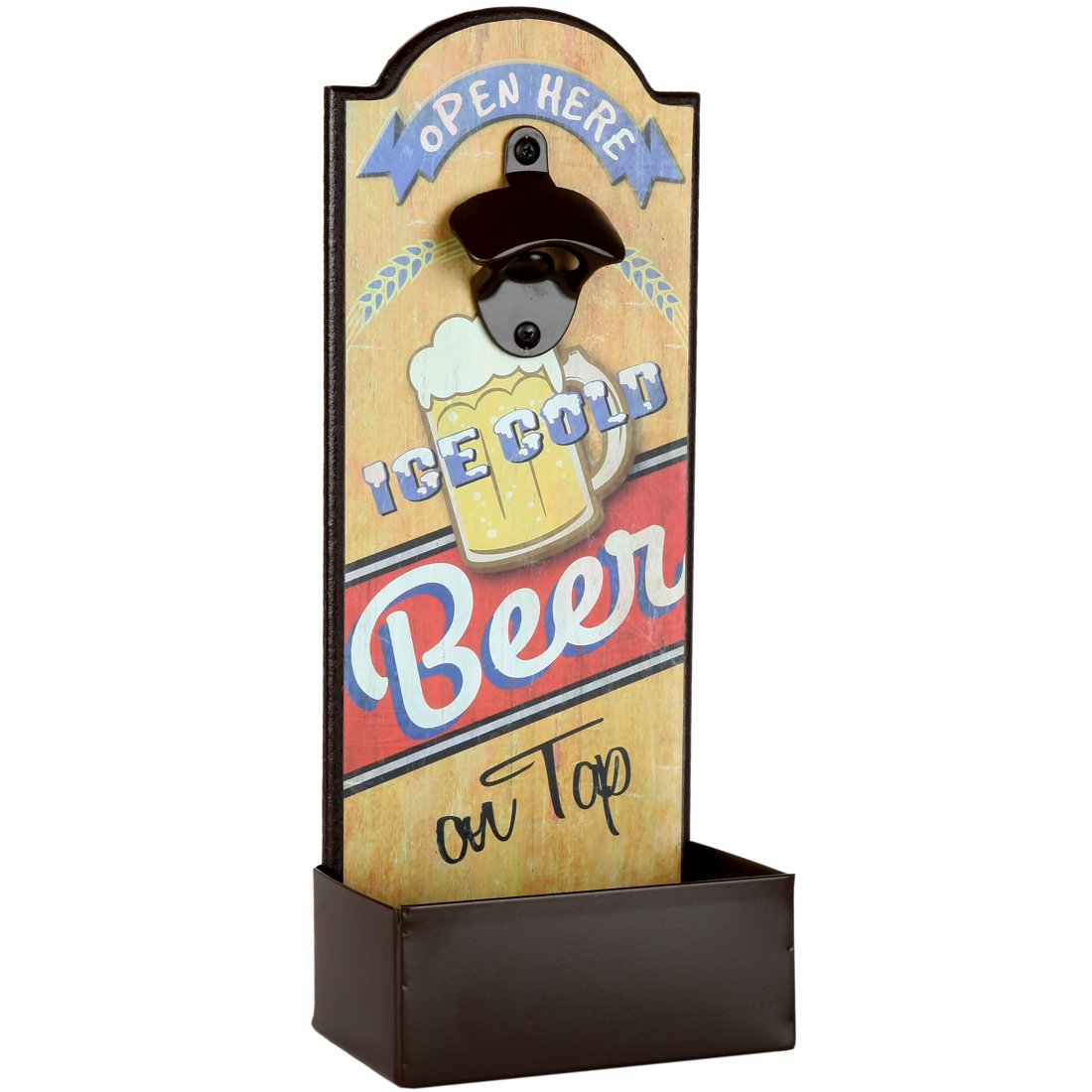 Lily's Home Vintage-Style Beer Bottle Cap Opener With Cap Catcher, Features Ice Cold Beer on Tap Saying, Ideal Father's Day Gift, Use as Man Cave or Bar Decoration (14.25'' L x 5.5'' W x 3.75'' D)