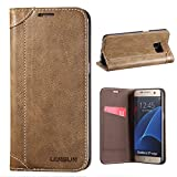 Samsung Galaxy S7 Edge Case, Lensun Genuine Leather Wallet Magnetic Flip Case Cover for Samsung Galaxy S7 Edge 5.5' - Coffee (DX-S7E-CE)
