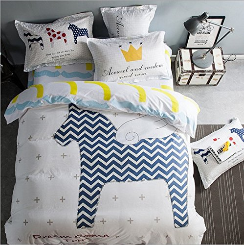 Sandyshow 3PC Horse Bedding For Boys And Girls Full/Queen Duvet Cover Set 100% Cotton,Twin/King Size Optional
