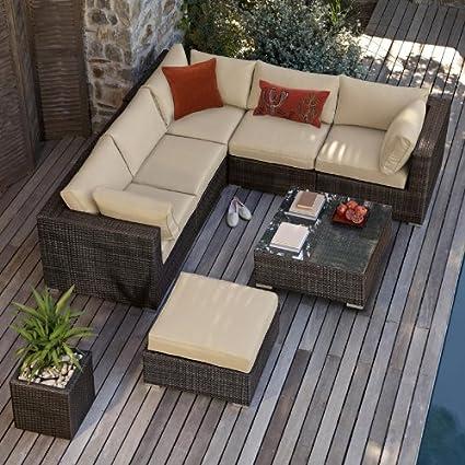 Amazon.com: Kensington sofá de esquina Set Rattan muebles de ...