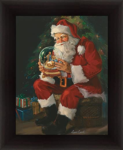 Santa Believes by Susan Comish Santa Claus Holding Nativity Snow ...