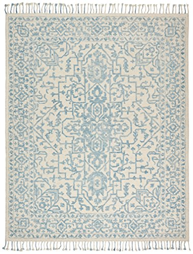 Stone Beam New England Tassled Wool Farmhouse Area Rug, 4 x 6 Foot, Blue and Cream