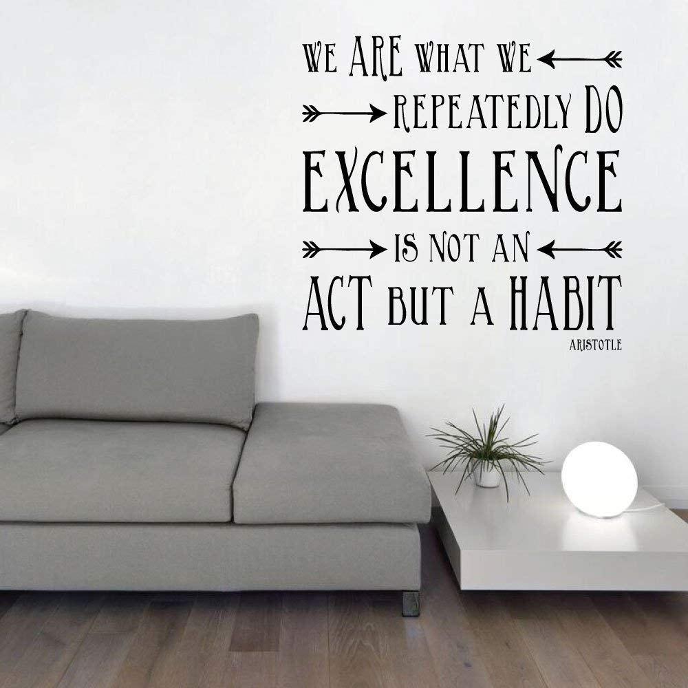 Excellence Quote Wall Decal | Aristotle: We Are What We Repeatedly Do | Inspirational Saying Vinyl Lettering for Home, Office, Classroom | Black, White, Gray, Red, Other Colors | Small, Large Sizes