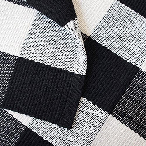 2'x3' Black And White Plaid Rugs Washable Handmade For