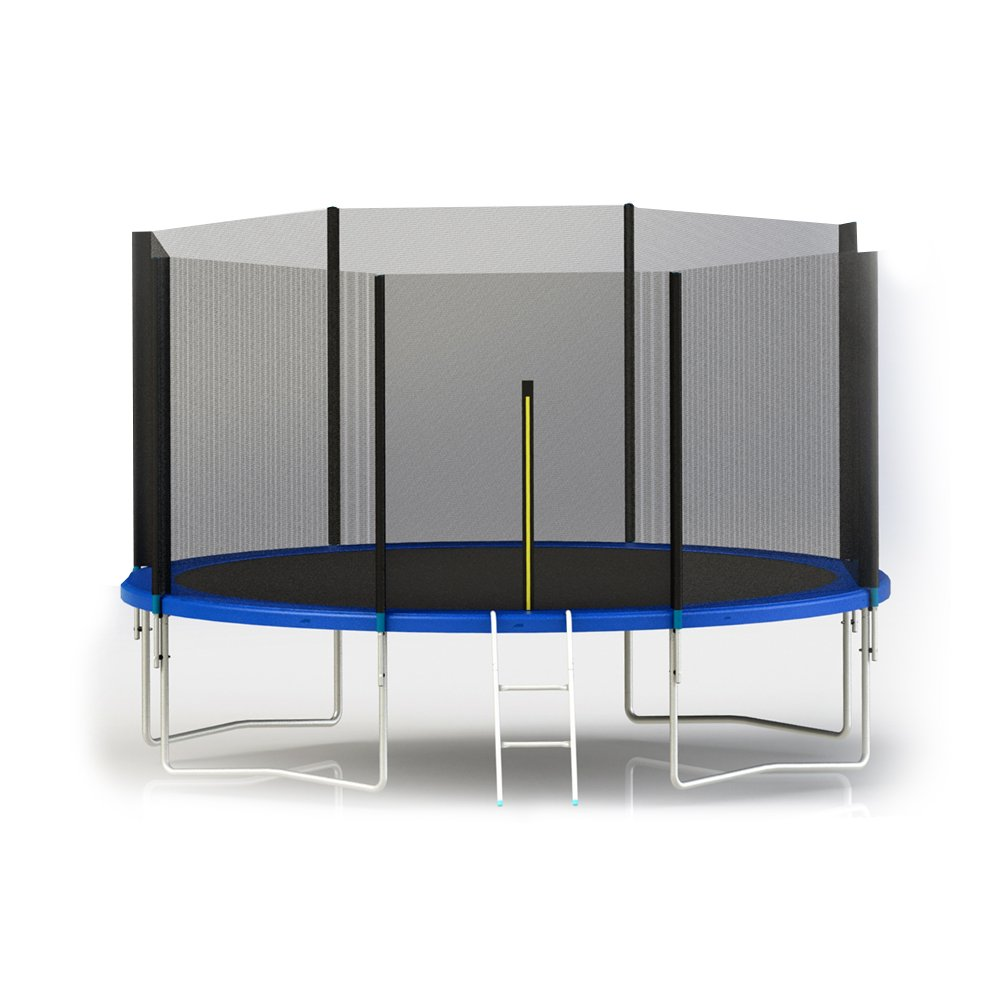 Aleko trp14 14 Fuß Trampolin mit Sicherheitsnetz und Leiter, schwarz und blau
