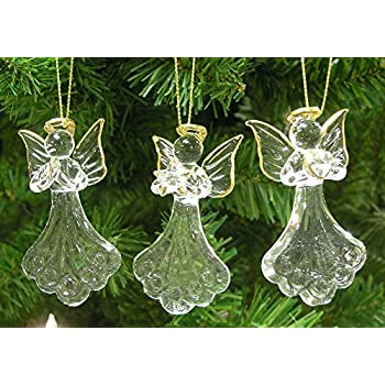 Etonnant Glass Angel Ornaments   Set Of 3 Mini Glass Angels   One Is Praying, Holding