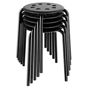 Yaheetech Portable Plastic Stack Stools Flexible Backless Classroom Seating,17.3inches Height, Black