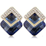 Jewels Galaxy Crystal Elements Limited Edition Sparkling AAA Emerald Glamorous Stud Earrings For Women/Girls