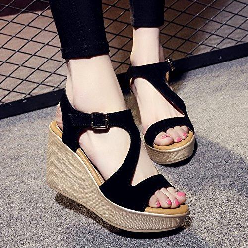 YMFIE Moda de Verano cómodo Deslizamiento Abierto Dedo del pie Sandalias de cuña de Las señoras Zapatos al Aire Libre Zapatos de Playa black