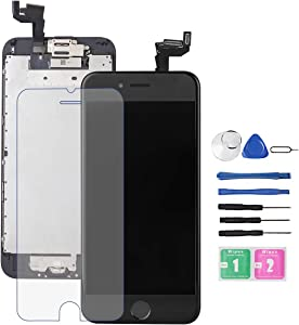 for iPhone 6S Screen Replacement Black,Drscreen LCD Touch Digitizer Complete Display for A1633, A1688, A1700,with Home Button Proximity Sensor Ear Speaker Front Camera Screen Protector and Repair Tool