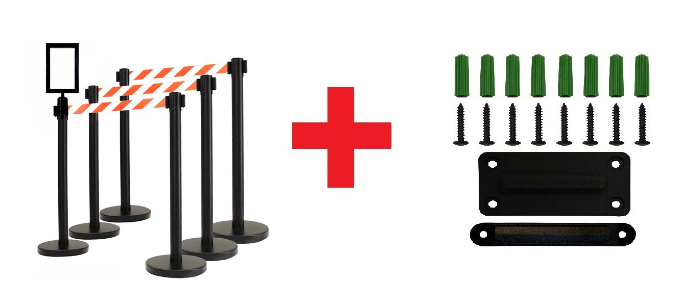 Retractable Stanchion, 6 Posts + Signframe, 36'' Ht, 78'' Special Event & Holiday Theme Belt + Wall Bracket … (WHITE/ORANGE)