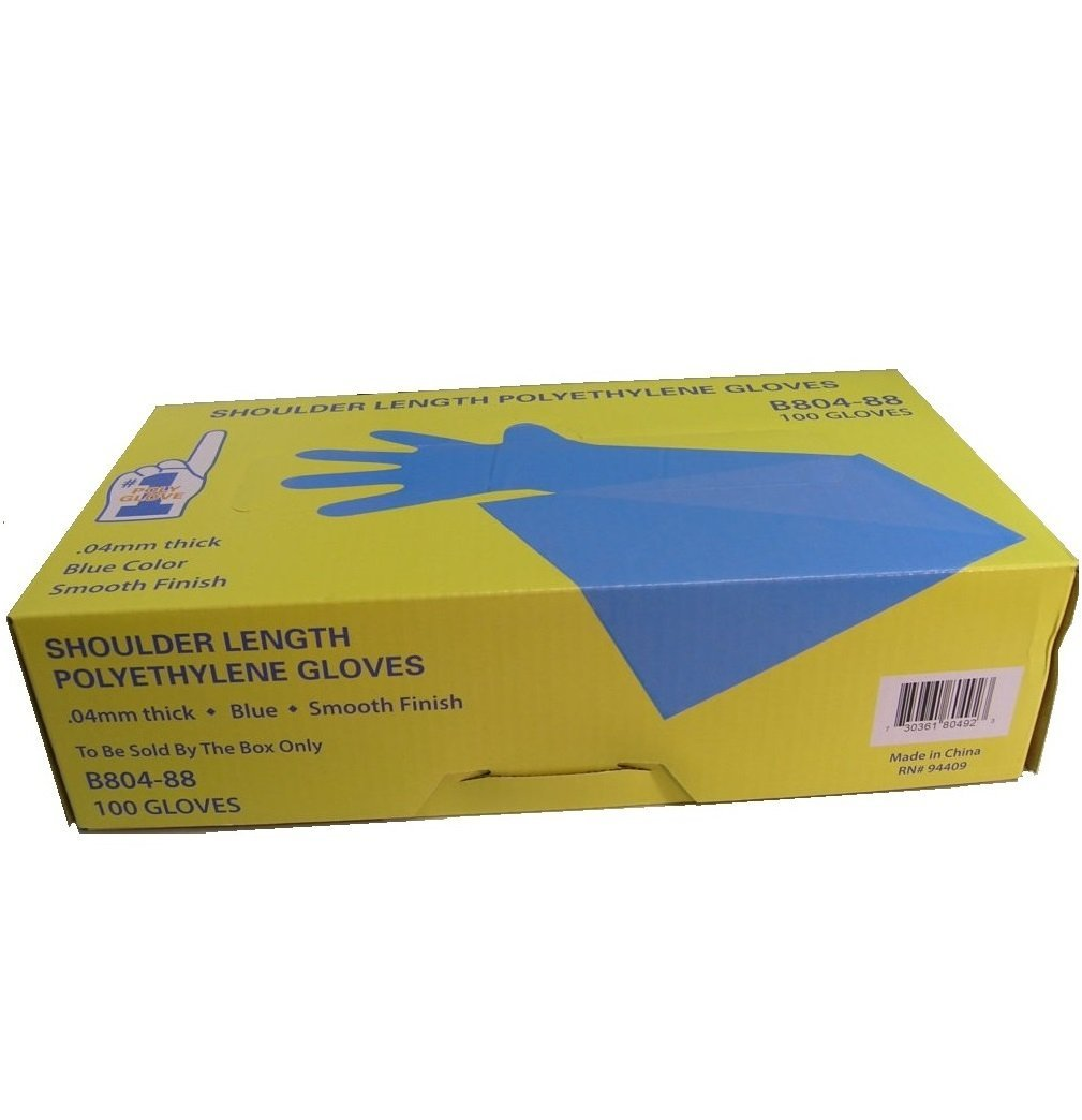 #1 POLY GLOVE Shoulder Length Polyethylene Glove with Elastic Top, Blue, Case of 1000