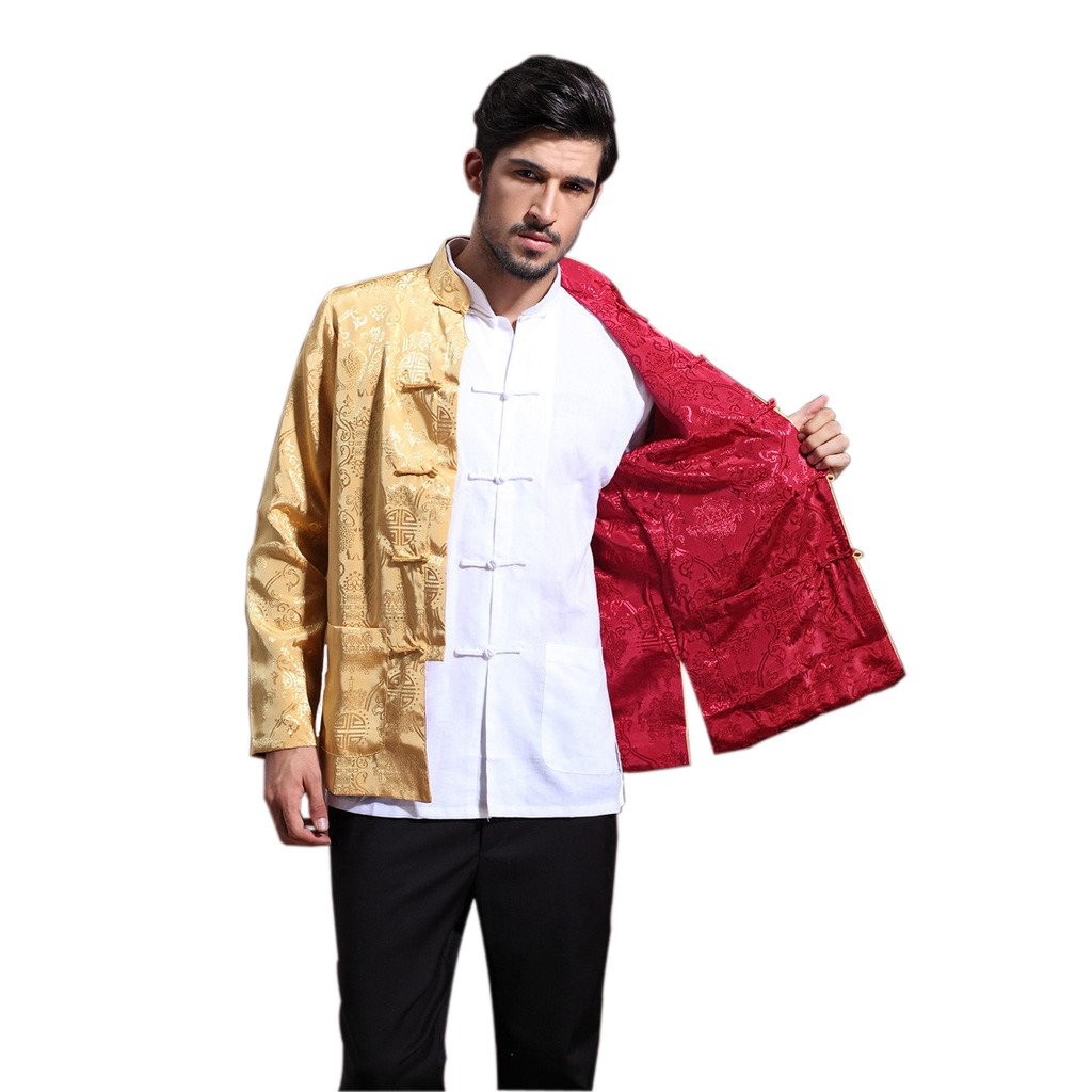 Mens Chinese Kung Fu Long Sleeve Silk Tang Jacket Double Sided Gold Red Size XXL by Master J