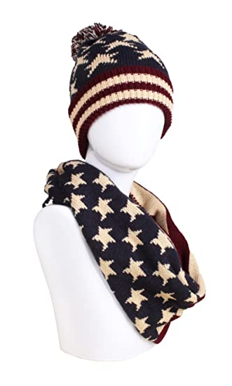 Amazon.com  American Flag Knitted Hat and Infinity Scarf  Clothing 006b05f7a98