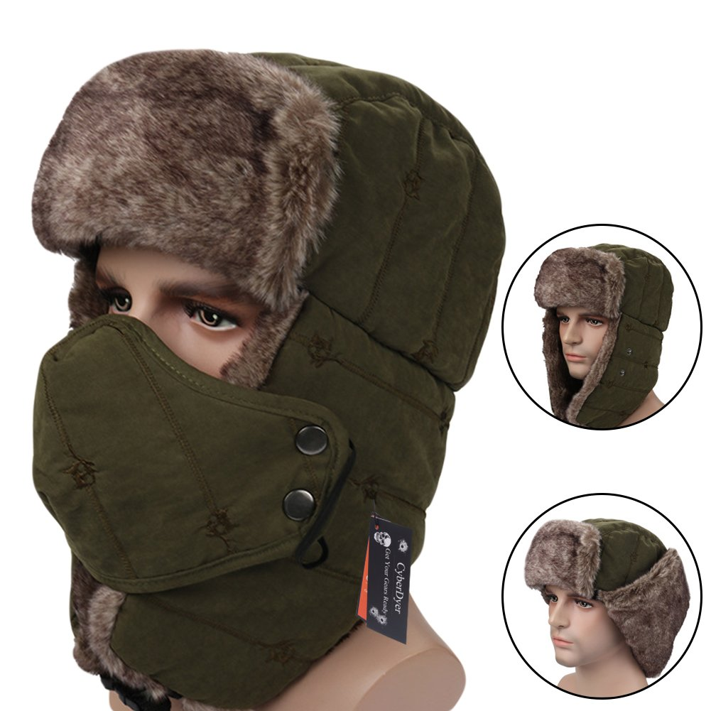 CyberDyer Russian Style Winter Trooper Hat Warm Hunting Hat Ear Flap Chin Strap With Windproof Face Mask (Army Green)