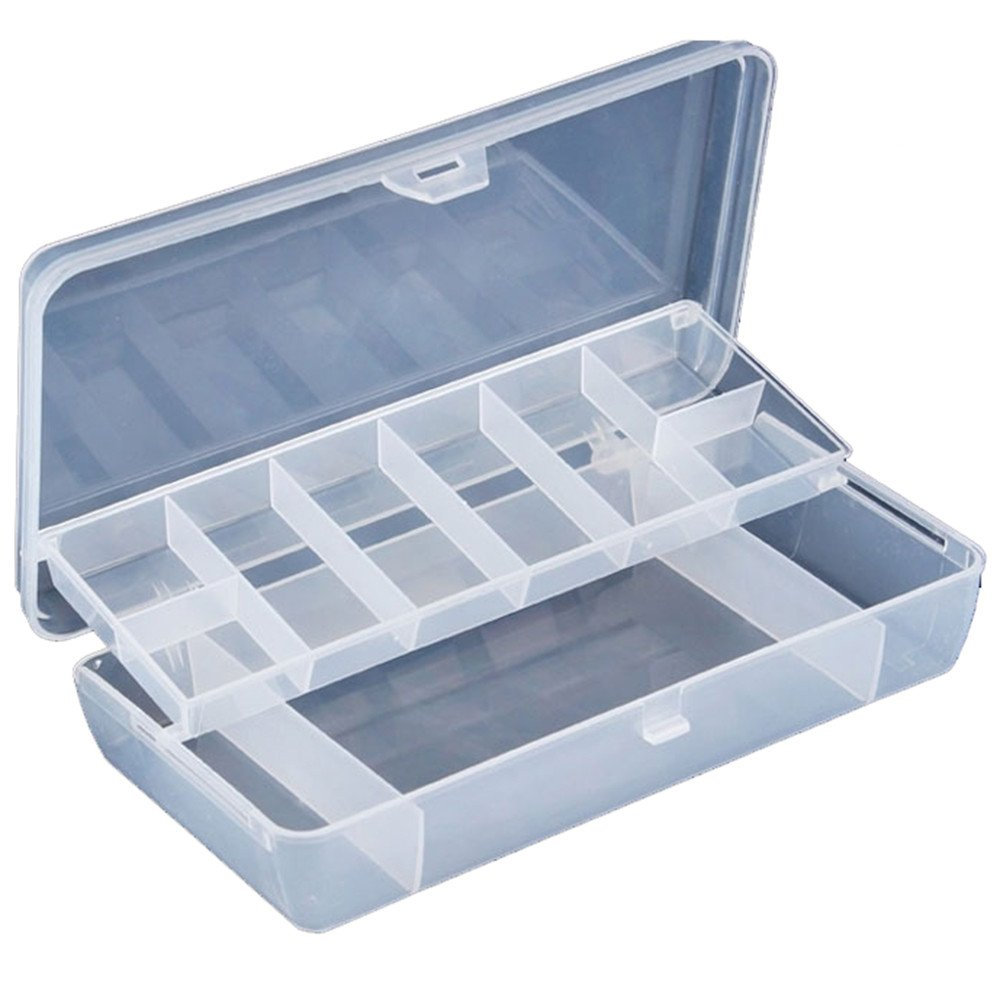Fishing Lure Boxes Plastic Clear Fishing Lure Bait Hooks FishingTackle Accessory Storage Box 2 Tray Fishing-Accessories Case (Clear)