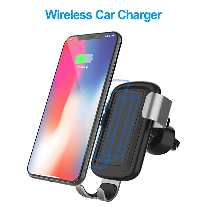Fast Wireless Car Charger, FUTESJ 10W Car Mount Wireless Charger Air Vent & Bracket Phone Holder Compatible for Samsung Galaxy S9 S9 Plus S8 S7/S7 ...