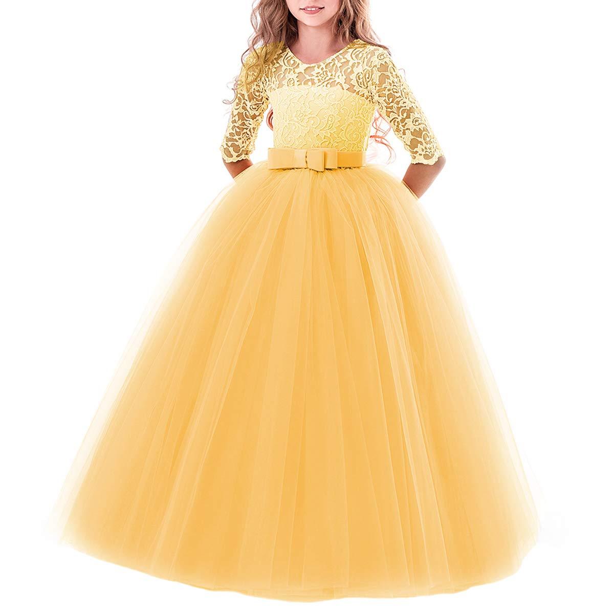 5d363c3161f87 Girls Flower Floral Lace 3/4 Sleeves Floor Long Princess Dress Wedding  Party Evening Formal Pegeant Maxi Gown