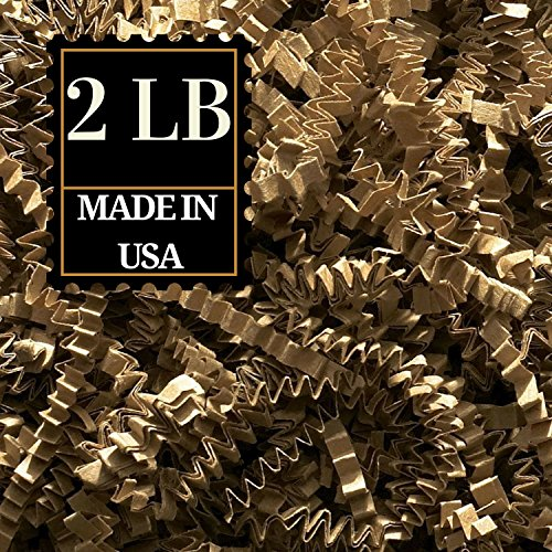 Crinkle Cut Paper Shred Filler for Packing and Filling Gift Baskets, Natural Craft Bedding in Brown Kraft Red Pink and White … (2 LB, KRAFT) ()