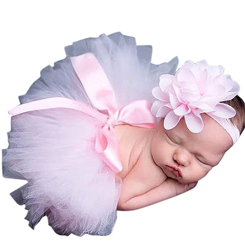 Baby Newborn Kostüm Fotoshooting Babyfotos Haarband mit Tutu Petticot Rosa