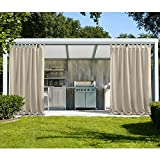 cololeaf Indoor/Outdoor Curtains For Patio Waterpoof Solid Tab Top Single Panel Window Curtain Drape For Patio Porch Gazebo Pergola Cabana dock beach home - Beige 52W x 96L Inch (1 Panel)