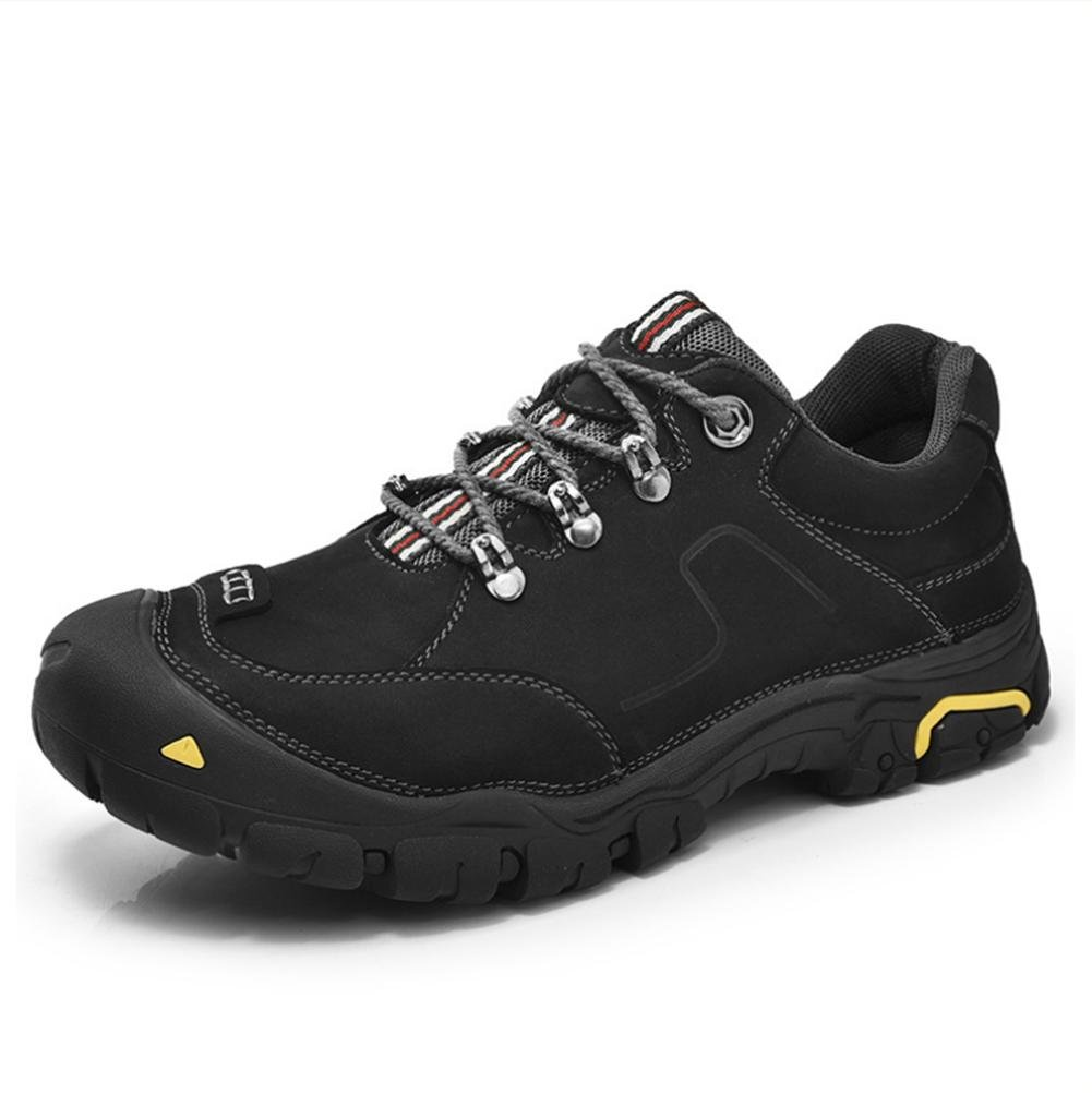 WDGT Draussen Klettern Schuhe zum Herren Wasserdicht und Rutschfest Original Leder Schnüren Atmungsaktiv Warm Halten Leicht Dauerhaft Stiefel zum Laufen Reisen Trekking Wandern Sport