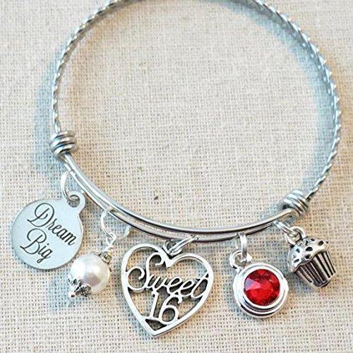 July Girls Charm - SWEET 16 Birthday Gift, DREAM BIG Sweet 16 Bangle Bracelet, Sixteenth 16th Birthday Gift, Sweet 16 Heart Charm Bangle, Sweet 16 July Ruby Jewelry