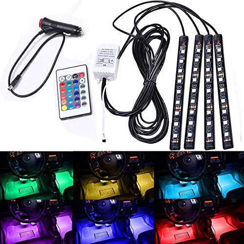AMBOTHER-4x-12-Color-36-LED-Car-LED-Interior-Atmosphere-Decorative-Strip-Lights-Glow-Neon-Floor-Decoration-Underdash-Lighting-Lamp-Kits-with-IR-Wireless-Remote-Control-Car-Charger-DC-12V