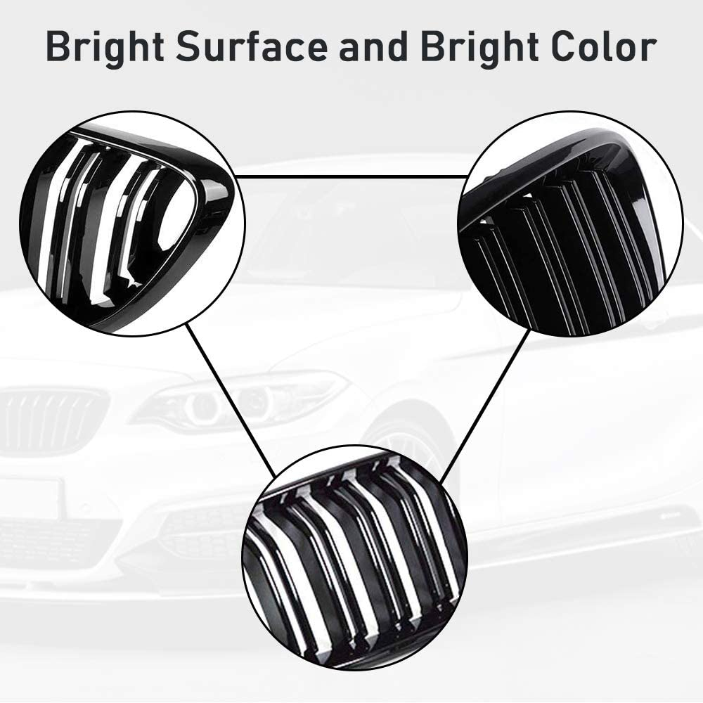Gloss Black AvA Grille Grill for BMW 2 Series M2 F87 F22 F23 220i 228i 230i 235i 2014-2019 2Pcs