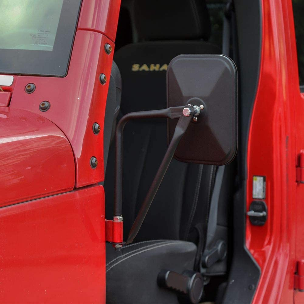 Textured Black JeCar Side Mirrors Square Doorless Rear View Quick Release Mirrors for Jeep Wrangler CJ YJ TJ JK JL /& Unlimited