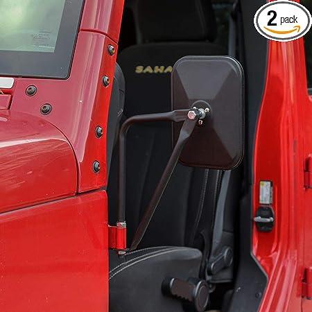 One Pair of Door Off Mirror for Jeep Wrangler Rectangular Adventure Side View Mirrors Fit 2007-2019 Wrangler JK /& JL