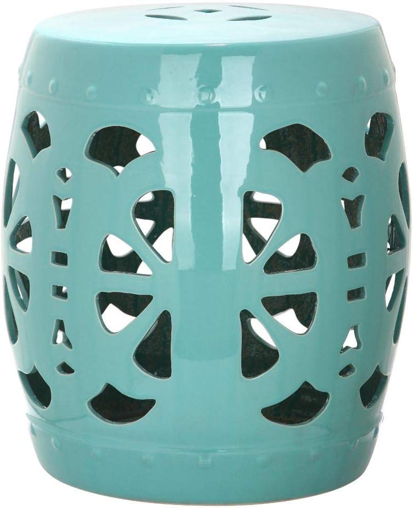 Safavieh Stencil Blossom Ceramic Decorative Garden Stool, Light Blue