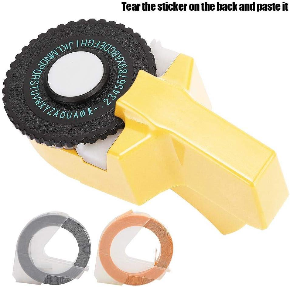 Amarillo Indexar,Impresora Etiqueta Port/átil de Mano 9 mm 3D Cinta de Relieve Etiquetadora Manual,Mini Manual Fabricante de Cintas Decorativo Color ABS 3D,Fabricante de Cintas para Sellar