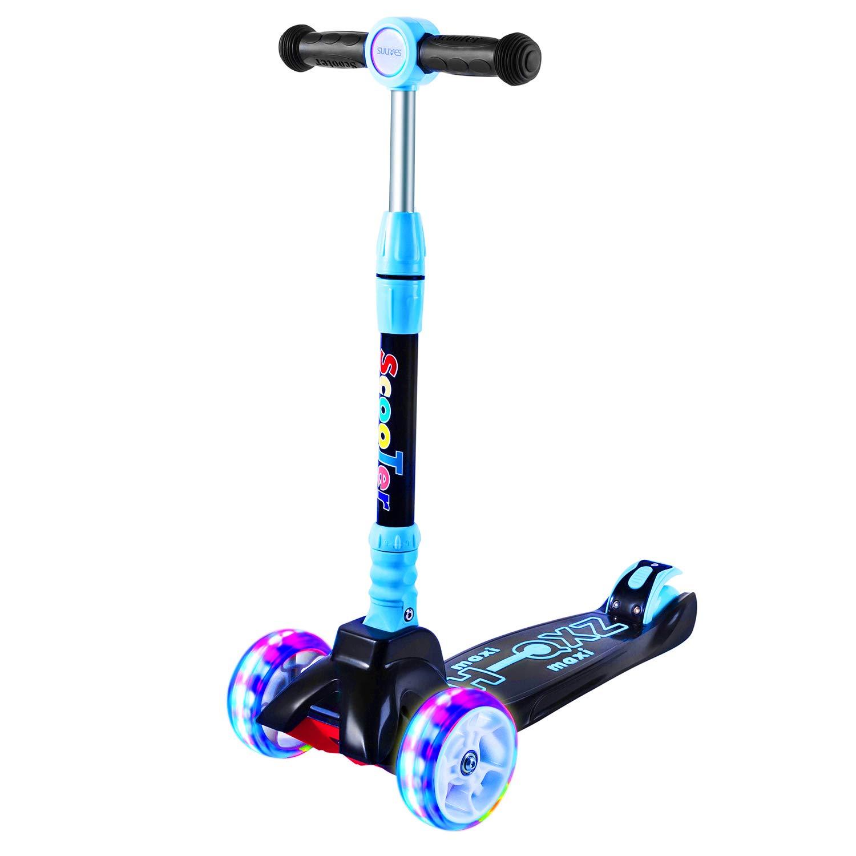 SULIVES 3 Wheel Scooter for Kids Ages 2-12 – Height Adjustable Back