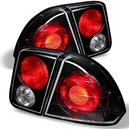 4 Piece Black Tail - For 2001-2005 Honda Civic Sedan 4-Door Black Tail Brake Lights + Trunk Piece 4Pcs Set