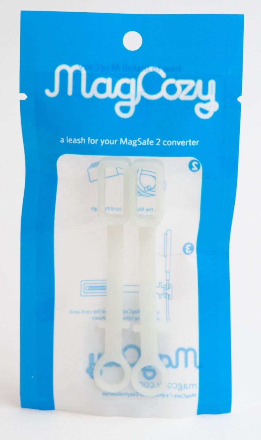 [2-Pack] MagCozy Leash Compatible with The Apple MagSafe to MagSafe 2 Converter, Never Lose a Pro to Air Adapter Again, Thunderbolt Display (White)