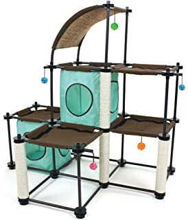 Kitty City Steel Claw Mega Kit Cat Furniture, Cat Condo Duplex With Toy