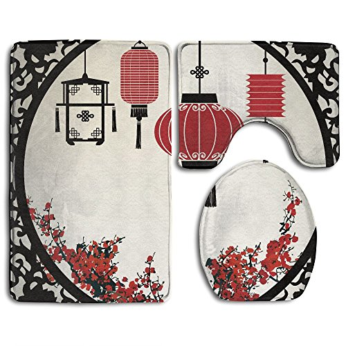 Hexu Asian Lanterns With Japanese Sakura Cherry Blossom Trees And Round Ornate Figure Graphic Bathroom Rug 3 Piece Bath Mat Set Contour Rug And Lid Cover